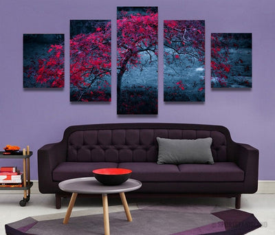 Purple Tree Leave In Autumn - 5 Piece Canvas-Canvas-TEEPEAT
