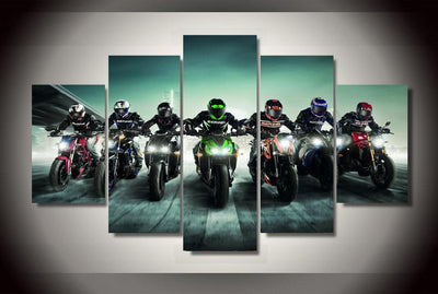 Motorsport Riders Squad - 5 Piece Canvas Painting-Canvas-TEEPEAT