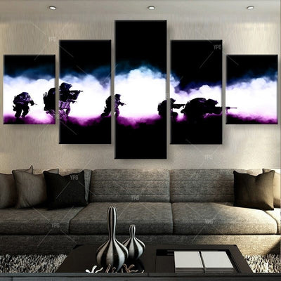 Soldiers in Action Painting - 5 Piece Canvas-Canvas-TEEPEAT