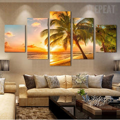 Stunning Sunset Seaside Landscape View - 5 Piece Canvas Painting