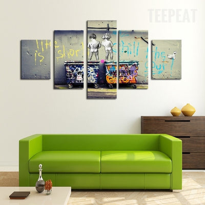 Kids With Dustbin Facing The Wall - 5 Piece Canvas Painting-Canvas-TEEPEAT