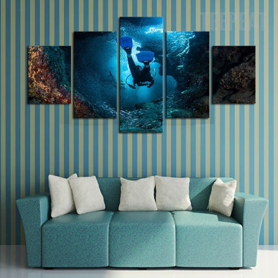 Scuba Diver And The Underwater Seaview Scenery - 5 Piece Canvas