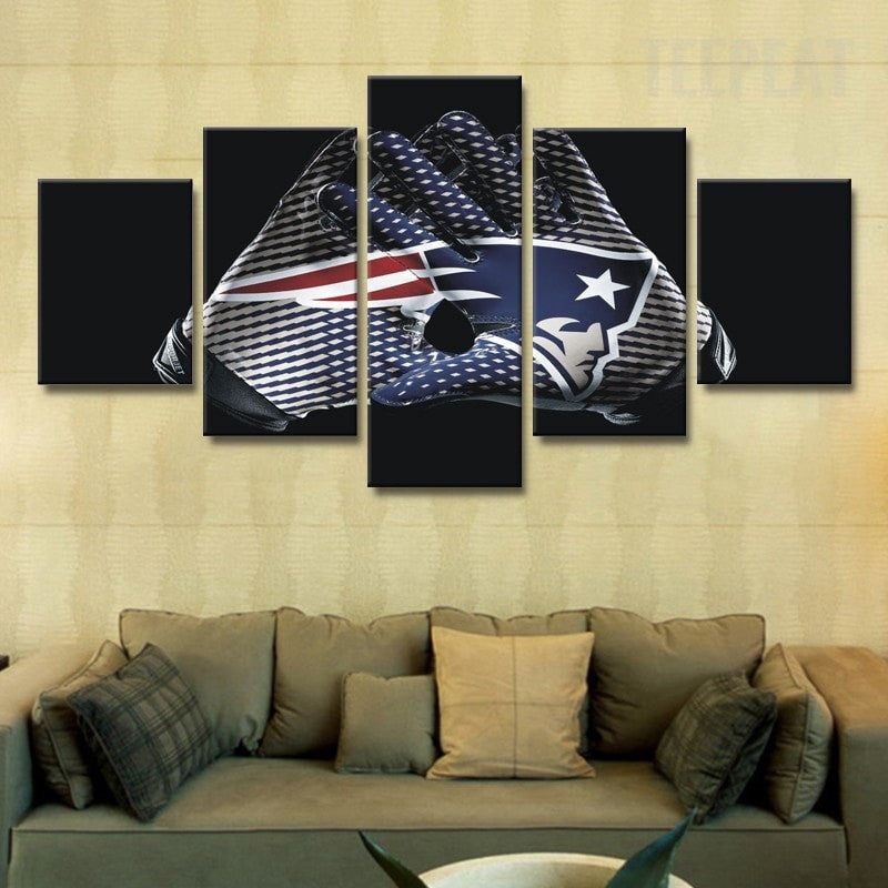 New England Patriots Logo - 5 Piece Canvas Painting - Empire Prints