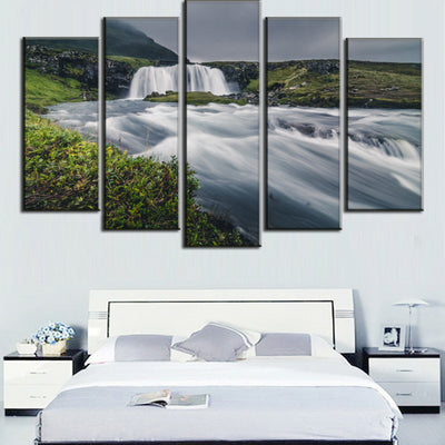 Green Mountain And Crystal Clear River Landscape View - 5 Piece Canvas-Canvas-TEEPEAT