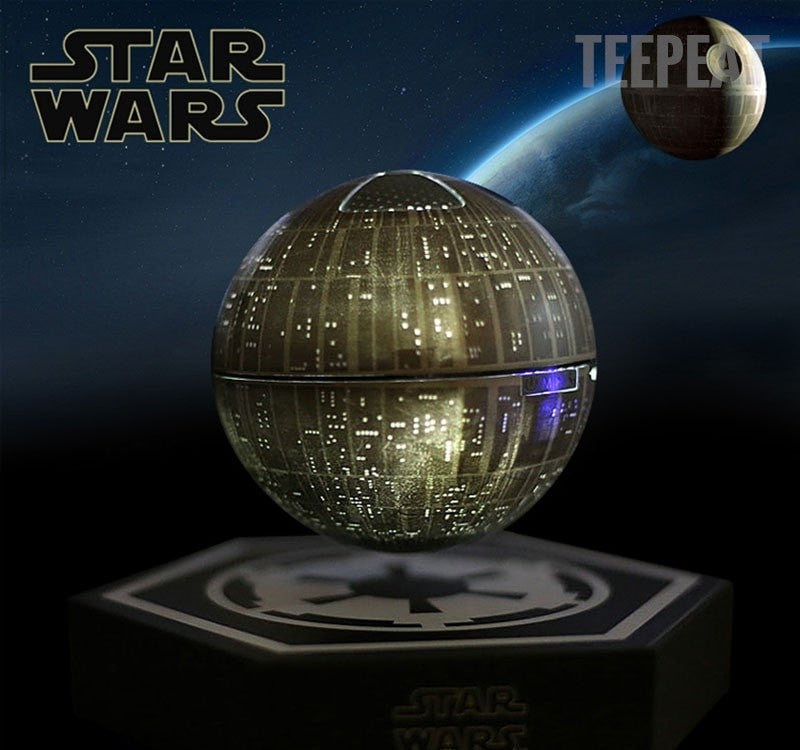 star wars death star levitating bluetooth speaker empire prints. Black Bedroom Furniture Sets. Home Design Ideas