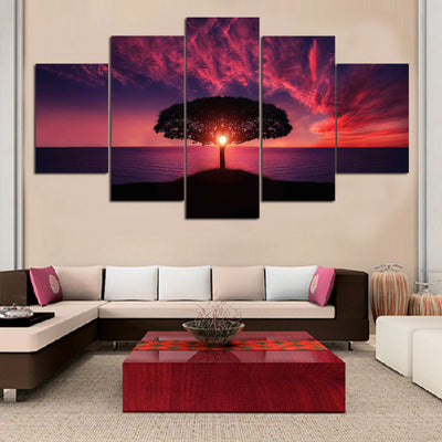 Magnificent Red Sunset By The Sea - 5 Piece Canvas-Canvas-TEEPEAT