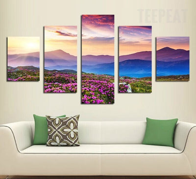 Splendid Sunset And The Mountaintop - 5 Piece Canvas Painting-Canvas-TEEPEAT