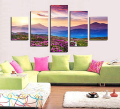 Splendid Sunset And The Mountaintop - 5 Piece Canvas Painting