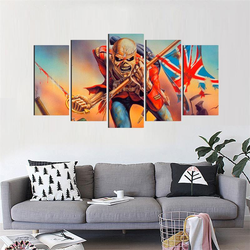 Skeleton Soldier: UK Flag Background - 5 Piece Canvas Painting