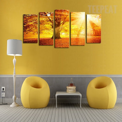 Trees on Landscape View Before Sunset - 5 Piece Canvas Painting