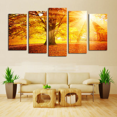 Trees on Landscape View Before Sunset - 5 Piece Canvas Painting-Canvas-TEEPEAT