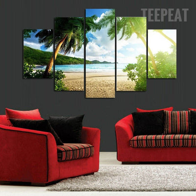 Palm Trees At The Beach - 5 Piece Canvas Painting-Canvas-TEEPEAT