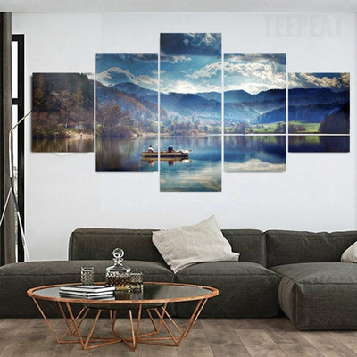 The Boat The Mountains And The Lake - 5 Piece Canvas-Canvas-TEEPEAT