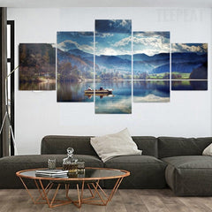 The Boat The Mountains And The Lake - 5 Piece Canvas