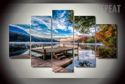 Lovely Lakeside Scenery - 5 Piece Canvas-Canvas-TEEPEAT
