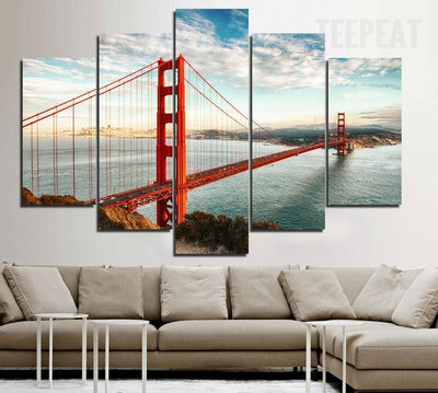 Golden Bridge Before The Blue Skies - 5 Piece Canvas Painting-Canvas-TEEPEAT