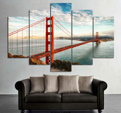 Golden Bridge Before The Blue Skies - 5 Piece Canvas Painting