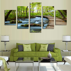 Waterfalls In The Woods - 5 Piece Canvas Painting