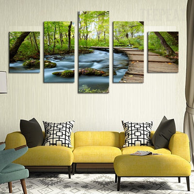 Waterfalls In The Woods - 5 Piece Canvas Painting-Canvas-TEEPEAT