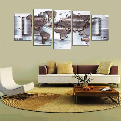 World Map Figure - 5 Piece Canvas Painting-Canvas-TEEPEAT