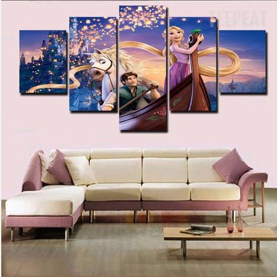 Tangled Rapunzel Flynn - 5 Piece Canvas Painting-Canvas-TEEPEAT