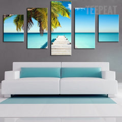 Palm Pontoon And The Clear Blue Water At The Beach - 5 Piece Canvas