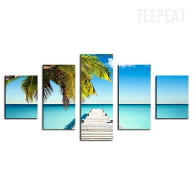 Palm Pontoon And The Clear Blue Water At The Beach - 5 Piece Canvas-Canvas-TEEPEAT