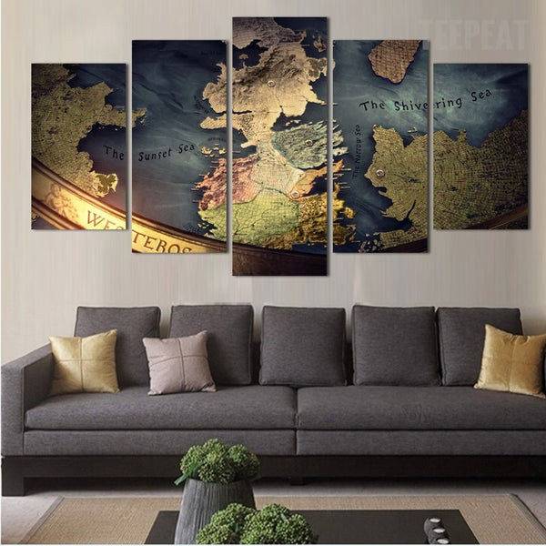 Middle earth map 5 piece canvas painting empire prints - Carte du monde tableau ...