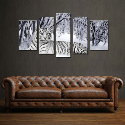 White Tiger In Snow Forest - 5 Piece Canvas Painting-Canvas-TEEPEAT