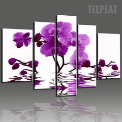 Purple Orchid Floating On The Water - 5 Piece Canvas
