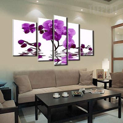 Purple Orchid Floating On The Water - 5 Piece Canvas-Canvas-TEEPEAT
