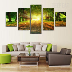 Promising Sunrise In The Green Forest - 5 Piece Canvas Painting