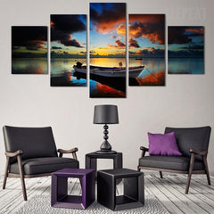 Ship Seaview Before Dusk Painting - 5 Piece Canvas