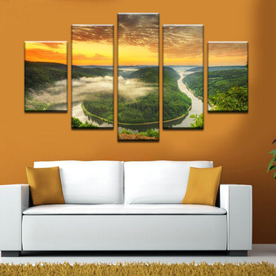 The Green Mountain In The Middle Of The River - 5 Piece Canvas-Canvas-TEEPEAT