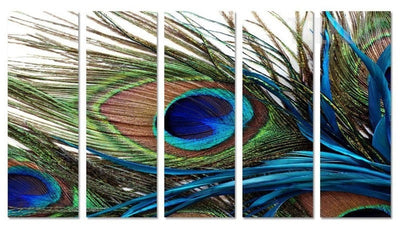Peacock Feather Painting - 5 Piece Canvas-Canvas-TEEPEAT