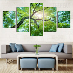 Green Tree Under The Sun - 5 Piece Canvas Painting