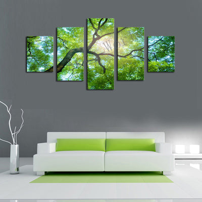 Green Tree Under The Sun - 5 Piece Canvas Painting-Canvas-TEEPEAT