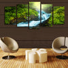 Green Forest Waterfall - 5 Piece Canvas-Canvas-TEEPEAT