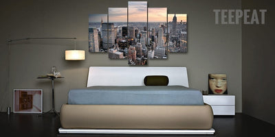 New York City Landscape View - 5 Piece Canvas-Canvas-TEEPEAT