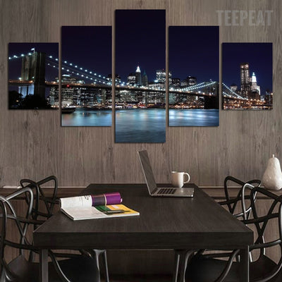 Stunning City Night View - 5 Piece Canvas Painting-Canvas-TEEPEAT