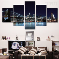 Stunning City Night View - 5 Piece Canvas Painting