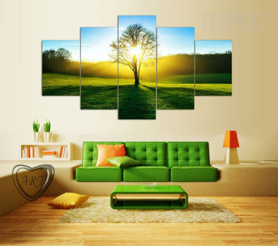 Green Tree And Grassland Before The Sunrise - 5 Piece Canvas Painting-Canvas-TEEPEAT
