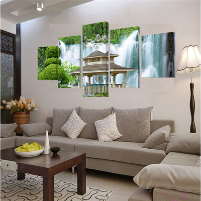 Waterfall Pavilion Cuadros - 5 Piece Canvas Painting-Canvas-TEEPEAT