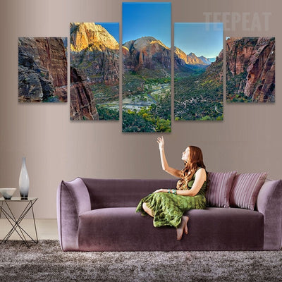Rocky Mountain Painting - 5 Piece Canvas-Canvas-TEEPEAT