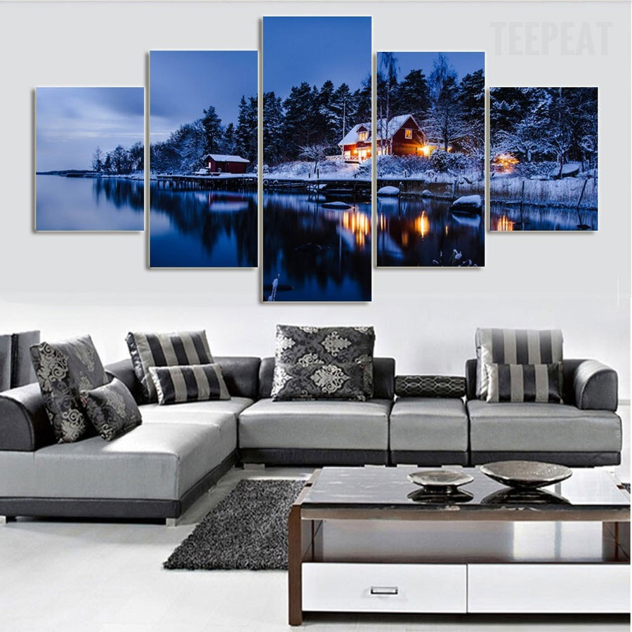 Sweden Village In Winter Dusk - 5 Piece Canvas Painting