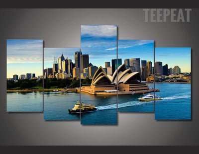 Sydney Opera Landscape View - 5 Piece Canvas-Canvas-TEEPEAT