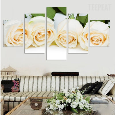 White Rose Flowers Painting - 5 Piece Canvas-Canvas-TEEPEAT