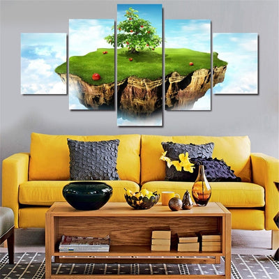 Floating Earth View - 5 Piece Canvas Painting-Canvas-TEEPEAT