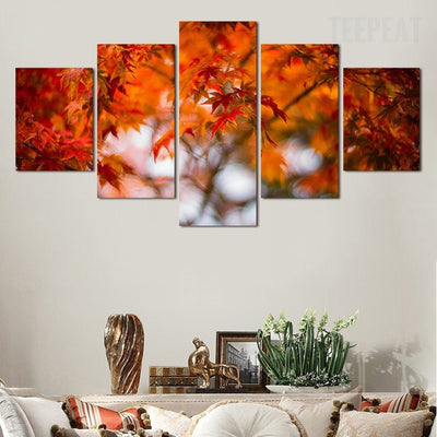 Maple Leaves Cuadros - 5 Piece Painting-Canvas-TEEPEAT