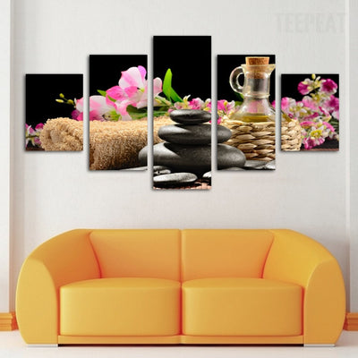 Spa Flower and Stone Painting - 5 Piece Canvas-Canvas-TEEPEAT